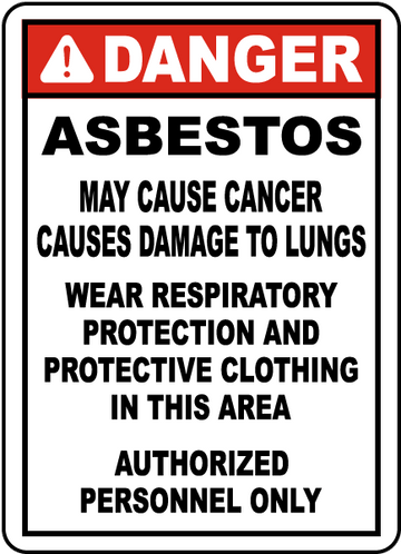 Asbestos Sign Plastic  14X20 English