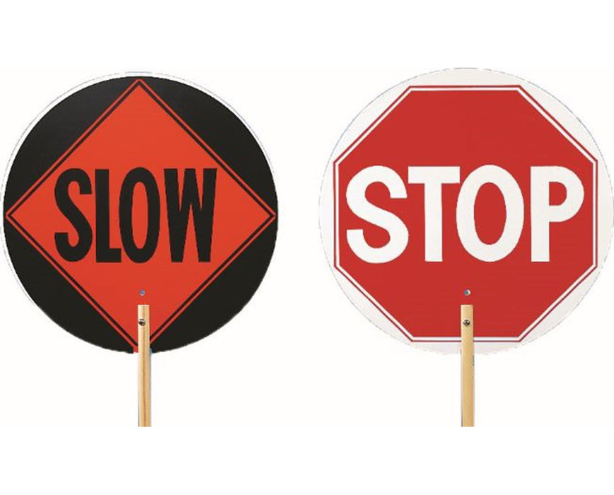 "Stop / Slow Handheld Sign With 6"" Paddle"
