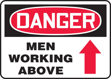 "Danger Men Working Above (10""x14"" Plastic Sign)"