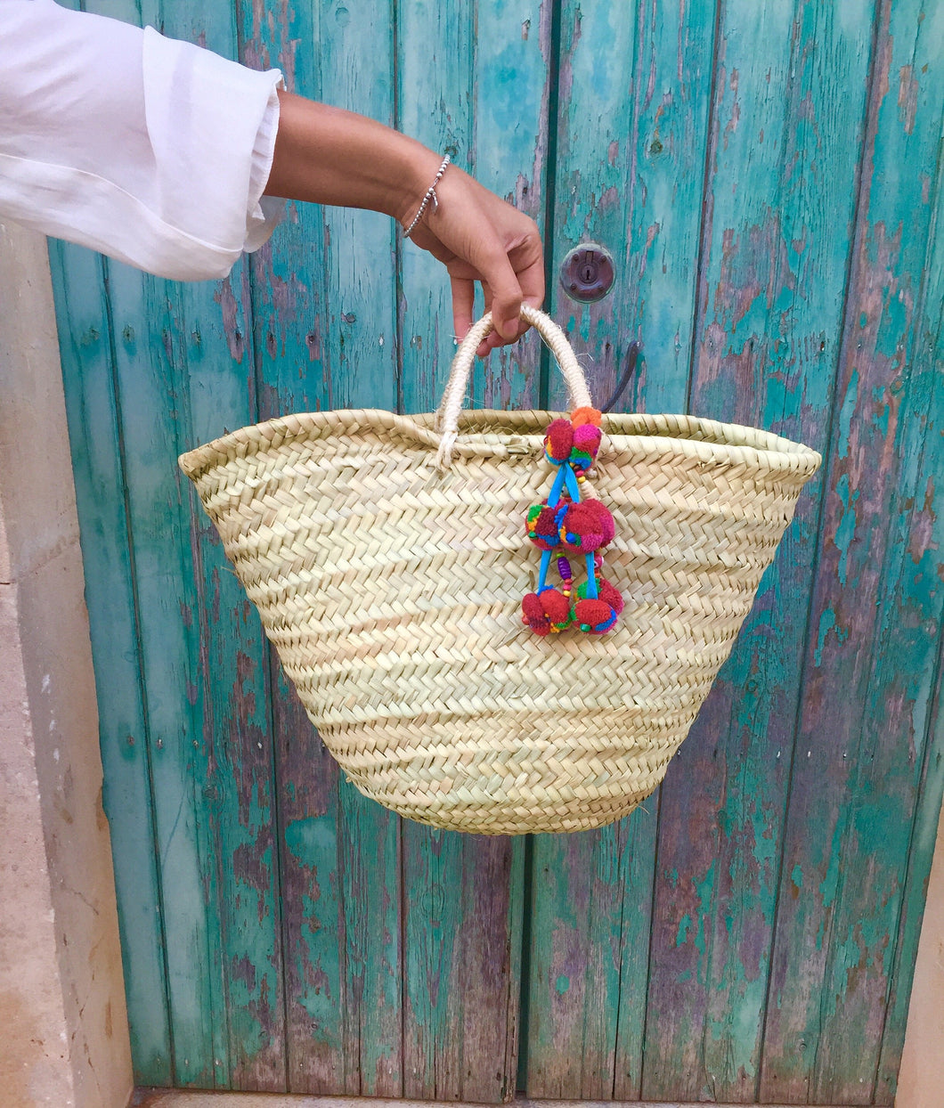 Moroccan Basket with Tassel Chain