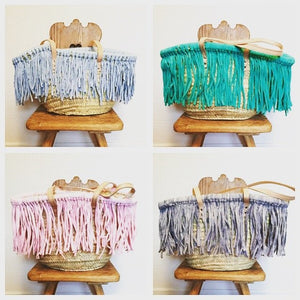 Moroccan Basket with colorful Tassels