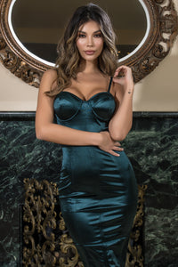 teal satin bodycon dress