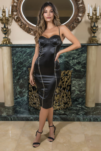 satin going out dress