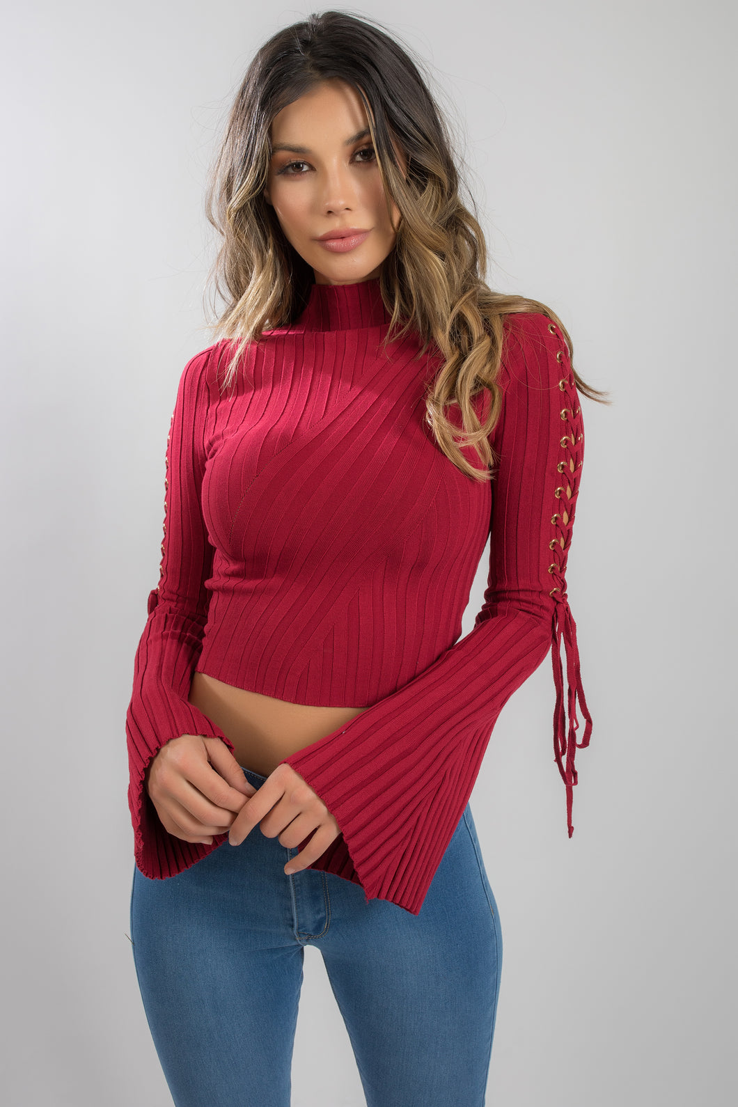 BURGUNDY BELL LONG SLEEVE