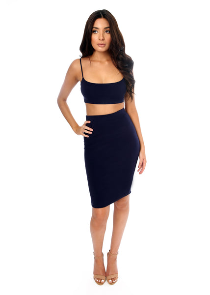 crop top and midi skirt set