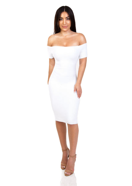 white off the shoulder midi dress