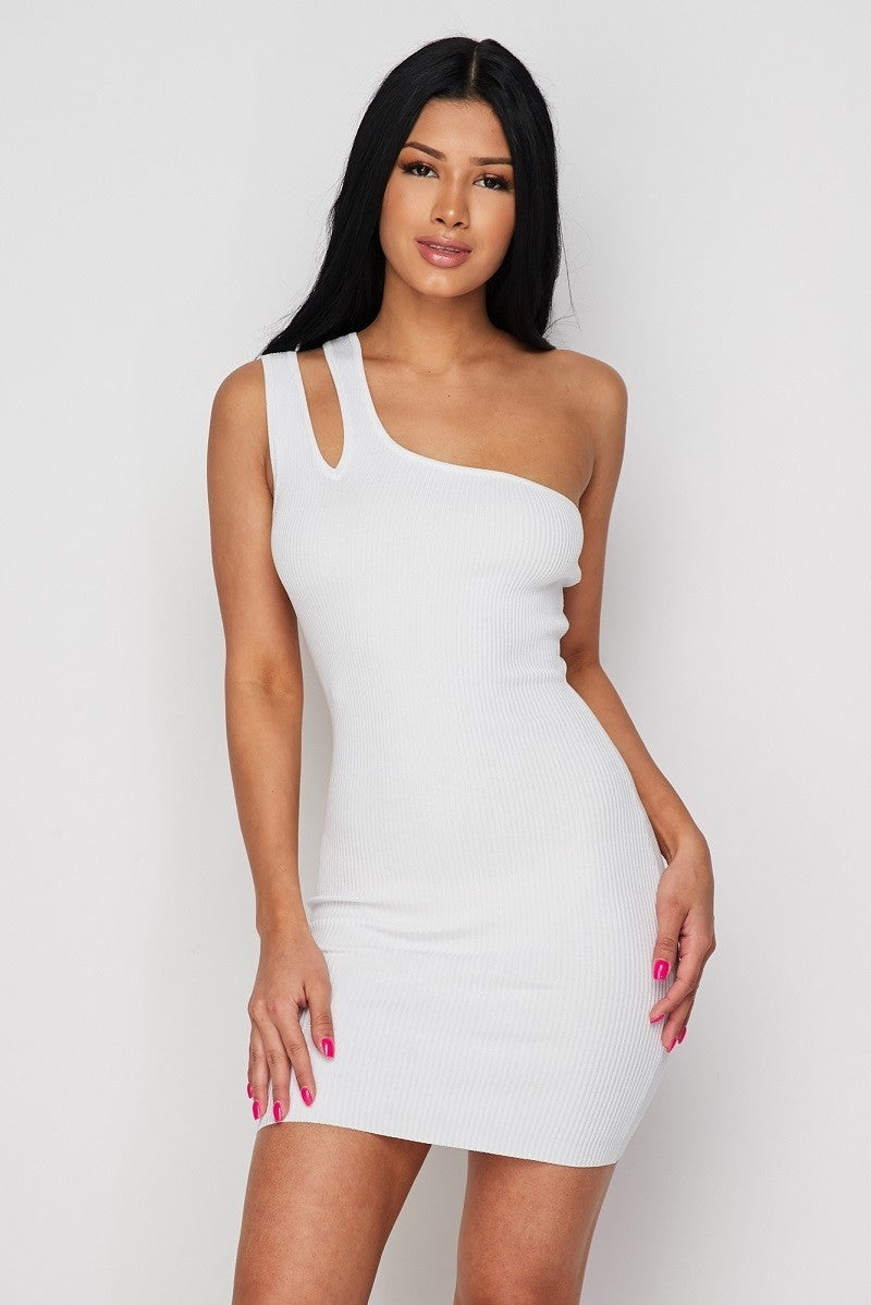 ONE SHOULDER SLASHED MINI DRESS