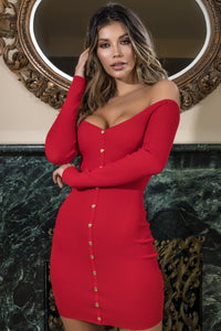 red off the shoulder mini dress