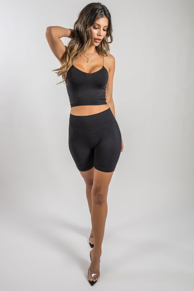 black top and bike shorts set