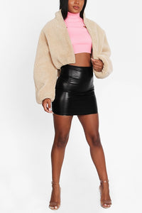 BEIGE FAUX FUR CROPPED JACKET
