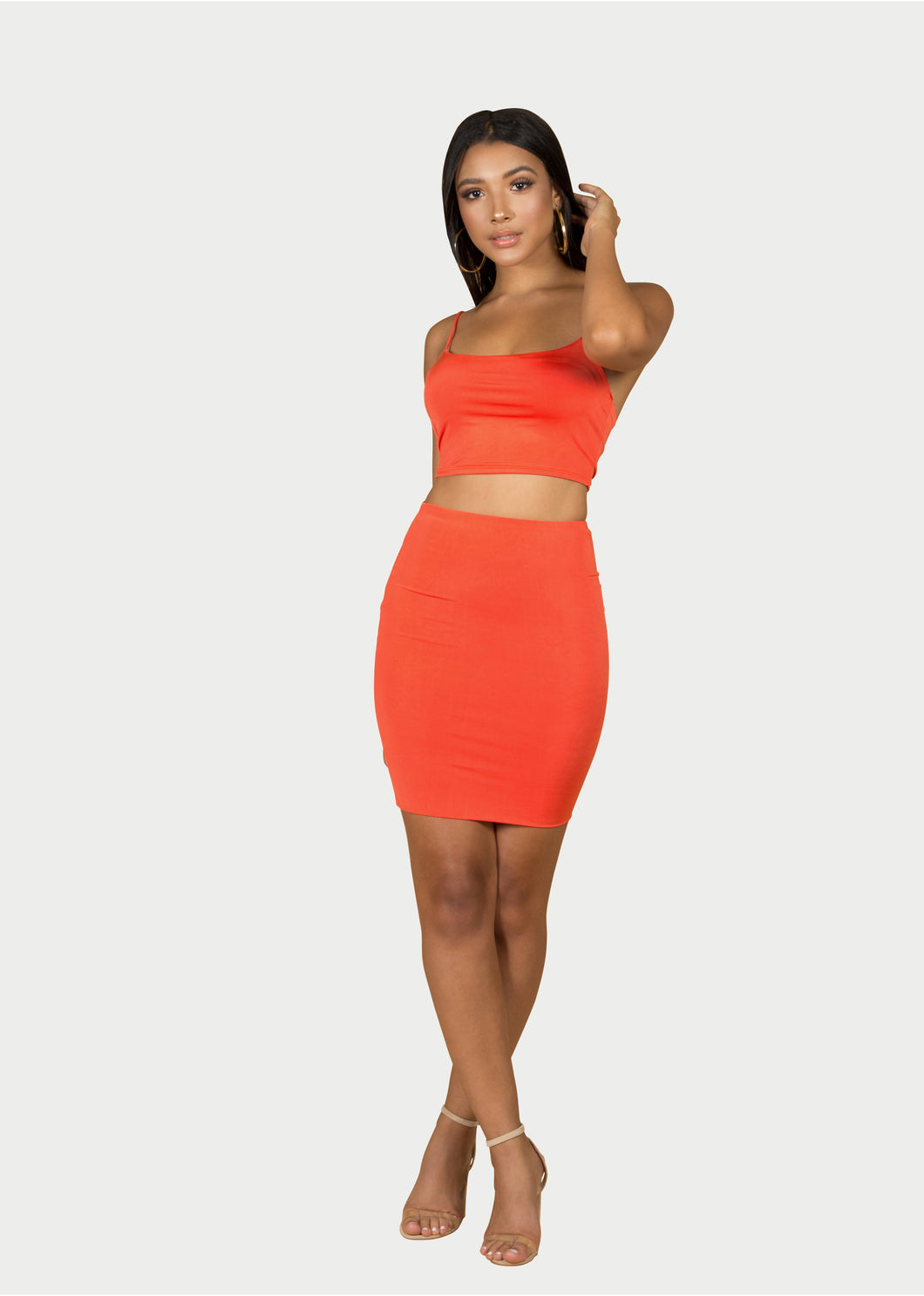 orange skirt and top set