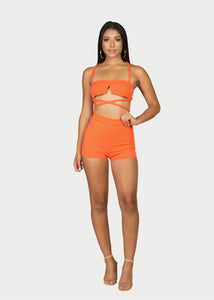 orange crop top and shorts set
