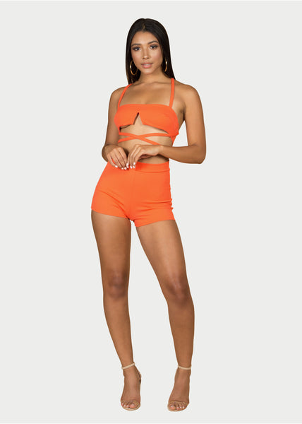 orange two-piece womens set