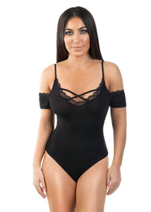 black cold shoulder bodysuit