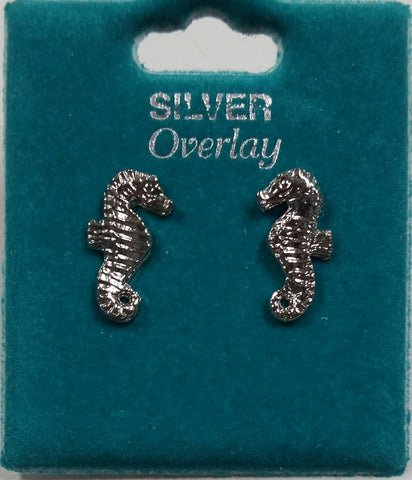 Seahorse Overlay Stud Earrings