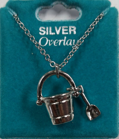 "Sand Bucket 16"" Silver Overlay Necklace"