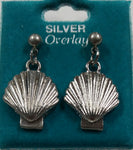Scallop Seashell Silver Overlay Stud Hanging Earrings