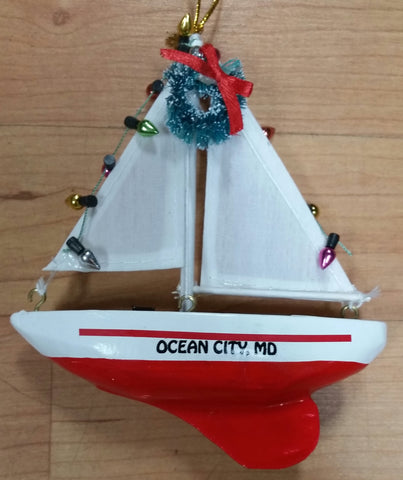 Sailboat Ocean City, MD Christmas Ornament