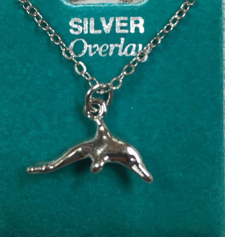 "Dolphin 16"" Silver Overlay Necklace"