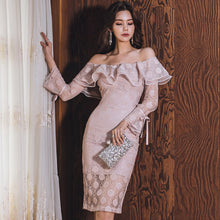 Load image into Gallery viewer, 2019 New Sexy Word Shoulder Back Flounce Lace Patchwork Bag Hip Slimming Midi Dress