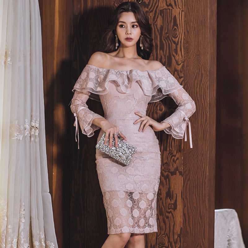 2019 New Sexy Word Shoulder Back Flounce Lace Patchwork Bag Hip Slimming Midi Dress