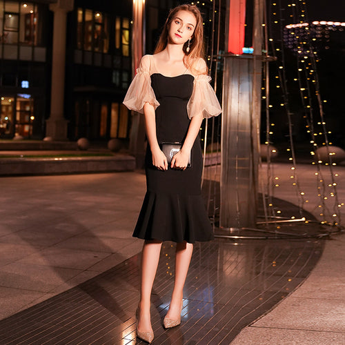 2019 Summer Elegant Black Lantern Sleeve Little Fishtail Party Dress Evening Midi Dress