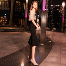 Load image into Gallery viewer, 2019 Summer Elegant Black Lantern Sleeve Little Fishtail Party Dress Evening Midi Dress