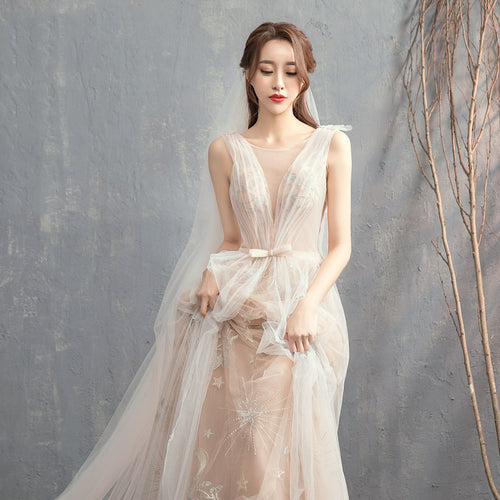 Apricot Super Fairy Luxury Forest Wedding Princess Maxi Dress