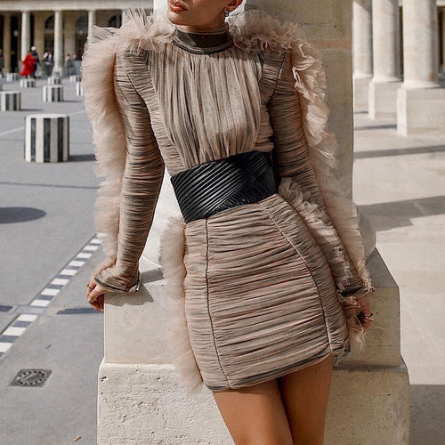 Spring Fashion Evening Party Dress Female Turtleneck Puff Long Sleeve High Waist Mini Dresses