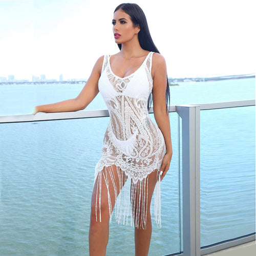 Sexy See-Through Lace V-Neck Long Fringe Beach Mini Dress