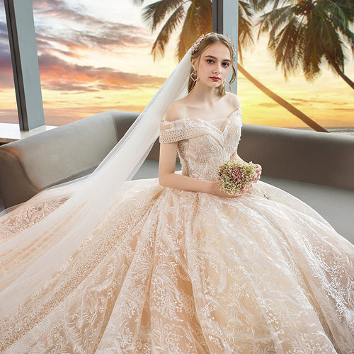One Word Shoulder Heavy Industry Lace Big Trailing Wedding Chapel Train Dress Bridal Gowns