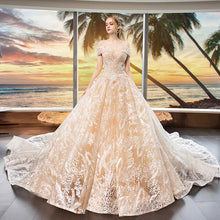 Load image into Gallery viewer, One Word Shoulder Heavy Industry Lace Big Trailing Wedding Chapel Train Dress Bridal Gowns