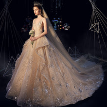 Load image into Gallery viewer, V-Neck Luxury 2019 Vintage Champagne Gown Cocktail  Ball Gown Wedding Dresses Bride Dress Long Plus Size Vetidos De Novia