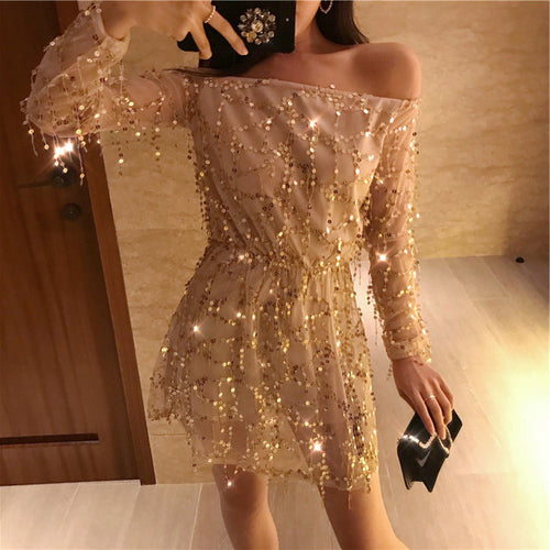 Sexy Slach-Neck Sparkle Sequin Long Sleeve Party Club Mini Dress  summer style women clothing plus size
