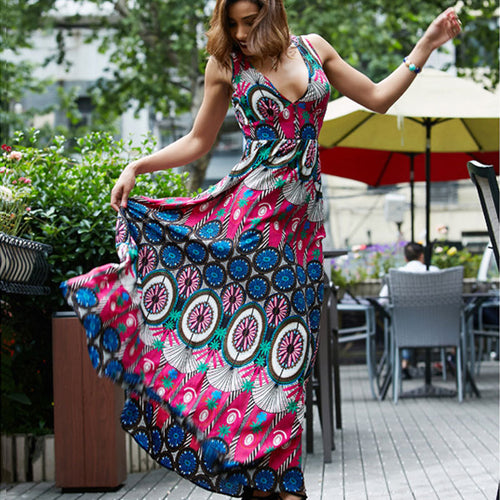 Boho Nationality V-neck Sleeveless Print Large Size Beach Long Maxi Dress