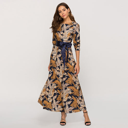 Classic Retro Casual Long Dress 2019 Spring Summer Fashion Lantern Sleeve O-neck Boho Dress For Female Vestidos