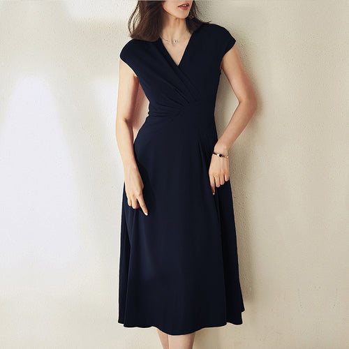 Summer Wine Red Temperament V-Neck A-Line Elegant Midi Dresses