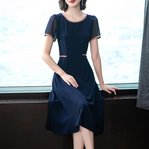 Lady Summer Daily Wear Deep Blue Collar Elegant A-Line Short Sleeves Midi Dress