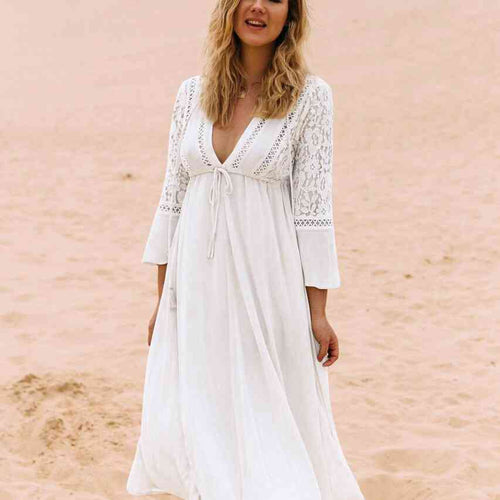 White Lace Beach Holiday Sunscreen Long Dress Lady Beach Cover-Up