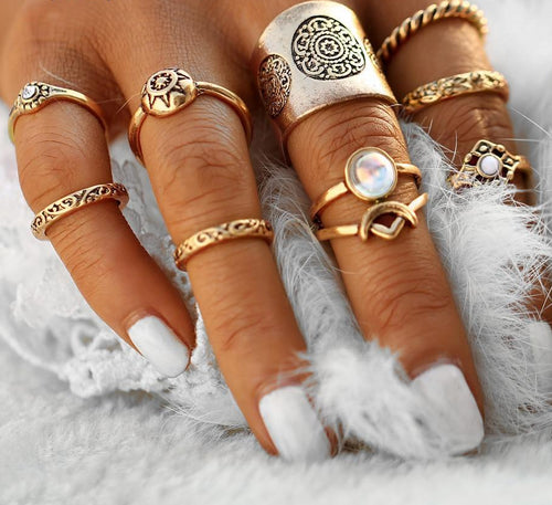 New 9 Pcs Vintage Silver Color Ring Sets Antique Midi Finger Rings For Women Steampunk Turkish Party Boho Knuckle Ring