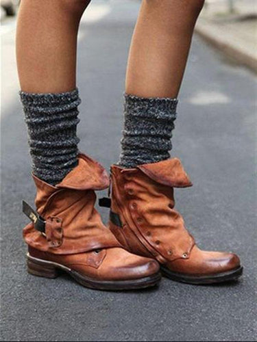 Women Fashion Winter Ankle Buckle Martin Low-Heel Boots Shoes