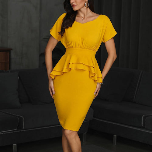 Yellow Solid Color V-neck One Pace Short Sleeves Midi Dress