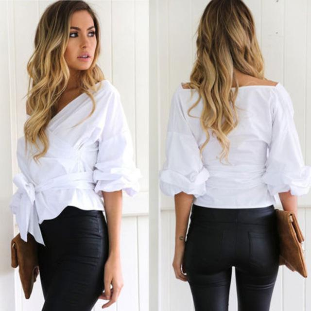 Summer Puff Sleeve White Blouse With Belt Women Sexy Deep-V Woman Shirt Elegant Plaid Tops Formal Clothing For Office Lady