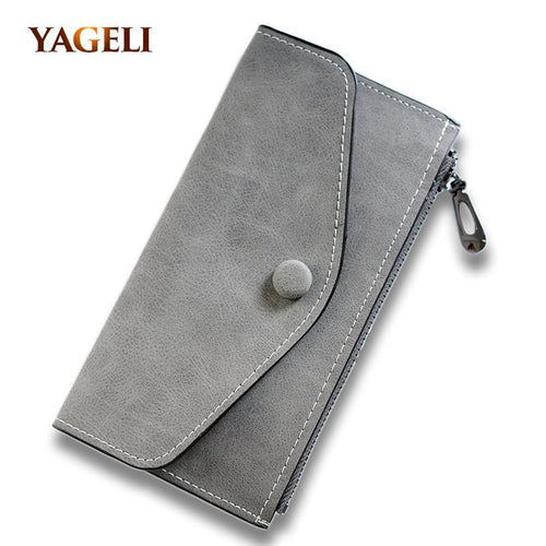 Matte Leather Women'S Wallet Zipper Bag Vintage Female Wallet Purse Fashion Card Holder Phone Pocket Long Women Wallet