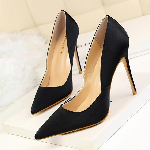 840a48d32c ... Load image into Gallery viewer, High Heels Solid Silk Shallow Women  Pumps Sexy Pointed Toe ...