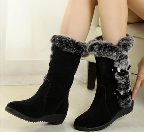 New Women Boots Autumn Flock Winter Ladies Fashion Snow Boots Shoes Thigh High Suede Mid-Calf  Boots