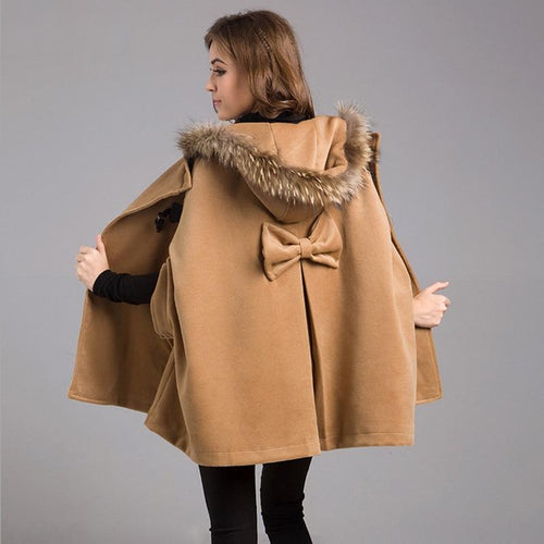 New Womens Winter Jackets Coats Plus Size Female Casual Loose Cape Bat Sleeve Wool Fur Collar Poncho Jacket Cloak Coat