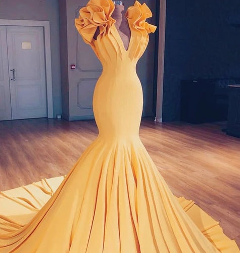 Yellow Mermaid Prom Dresses Special Designed Long Prom Gowns Ruffles On Shoulder Abiye Elastic Party Dresses