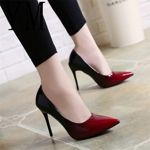 11efd595e Shadow Women Shoes Pointed Toe Pumps Patent Leather Dress Wine Red Boat  Shoes Wedding Shoes