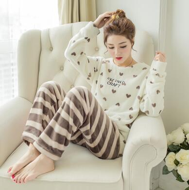 Winter Home Wear suit New Brand Thickened Cute Sleeping Fleece Pajamas Furnishing Suit Coral Velvet